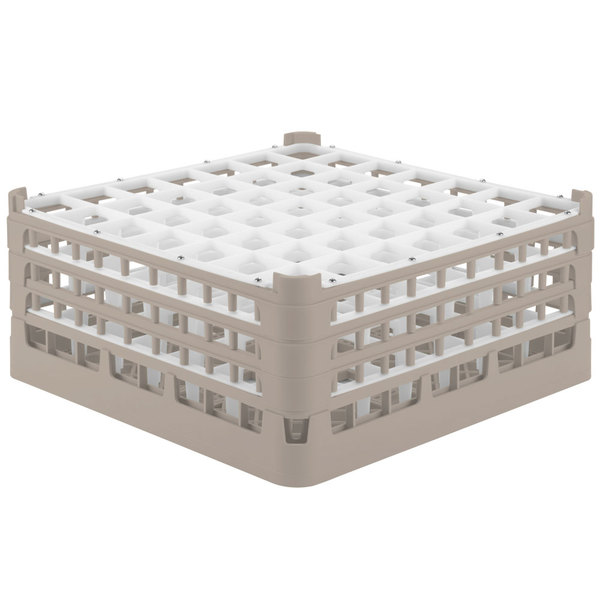 """Vollrath 52724 Signature Full-Size Beige 49-Compartment 7 1/8"""" X-Tall Glass Rack Main Image 1"""