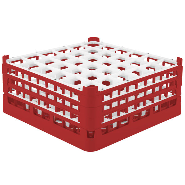 "Vollrath 52716 Signature Full-Size Red 36-Compartment 7 1/8"" X-Tall Glass Rack"