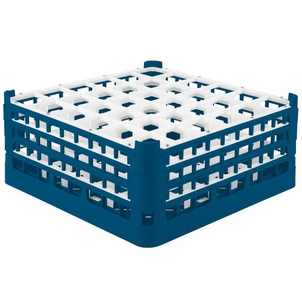 """Vollrath 52716 Signature Full-Size Royal Blue 36-Compartment 7 1/8"""" X-Tall Glass Rack"""