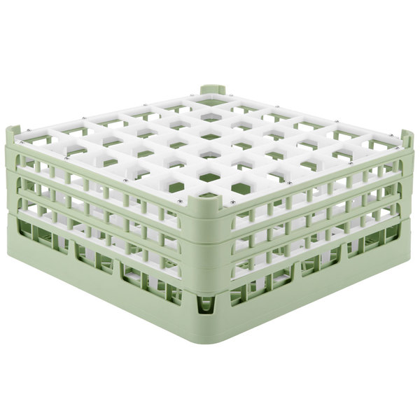 "Vollrath 52716 Signature Full-Size Light Green 36-Compartment 7 1/8"" X-Tall Glass Rack Main Image 1"