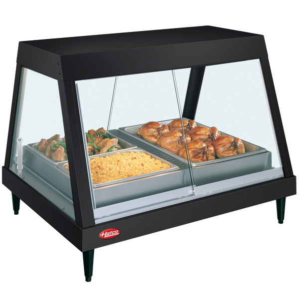 """Hatco GRHDH-4P Black Stainless Steel Glo-Ray 59 3/8"""" Full Service Single Shelf Merchandiser with Humidity Chamber - 120/208V"""