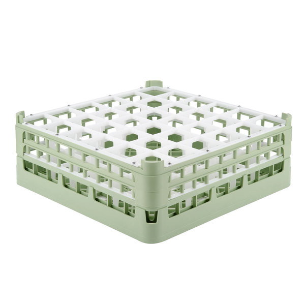 "Vollrath 52715 Signature Full-Size Light Green 36-Compartment 5 11/16"" Tall Glass Rack Main Image 1"