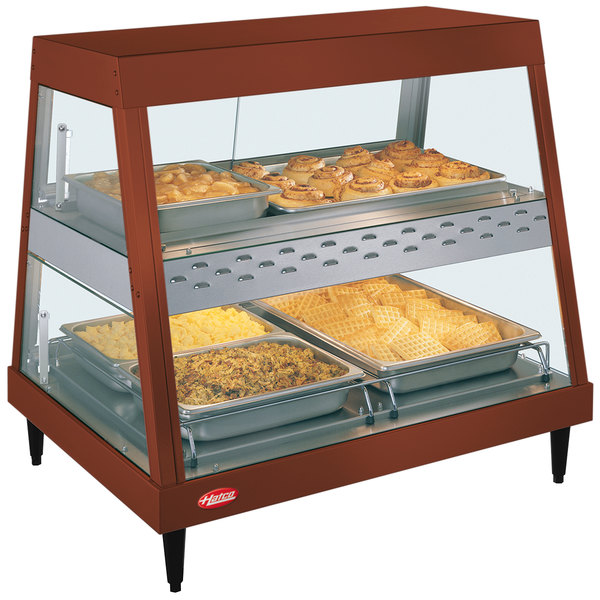 """Hatco GRHDH-2PD Antique Copper Stainless Steel Glo-Ray 33 3/8"""" Full Service Dual Shelf Merchandiser with Humidity Chamber"""