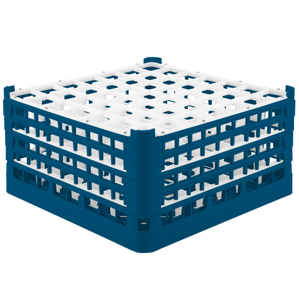 "Vollrath 52725 Signature Full-Size Royal Blue 49-Compartment 8 1/2"" XX-Tall Glass Rack Main Image 1"