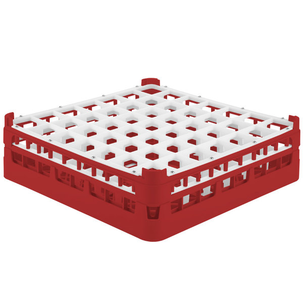 "Vollrath 52722 Signature Full-Size Red 49-Compartment 4 5/16"" Medium Glass Rack Main Image 1"