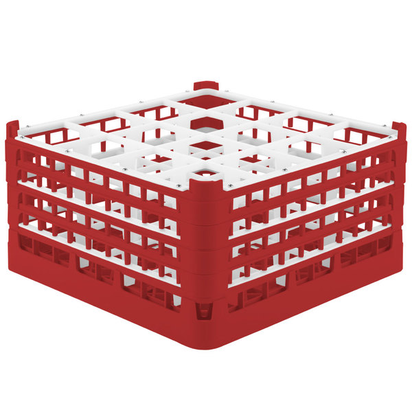 "Vollrath 52721 Signature Full-Size Red 16-Compartment 8 1/2"" XX-Tall Glass Rack Main Image 1"