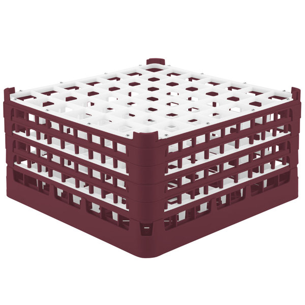 """Vollrath 52725 Signature Full-Size Burgundy 49-Compartment 8 1/2"""" XX-Tall Glass Rack"""