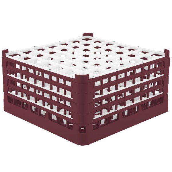 """Vollrath 52725 Signature Full-Size Burgundy 49-Compartment 8 1/2"""" XX-Tall Glass Rack Main Image 1"""