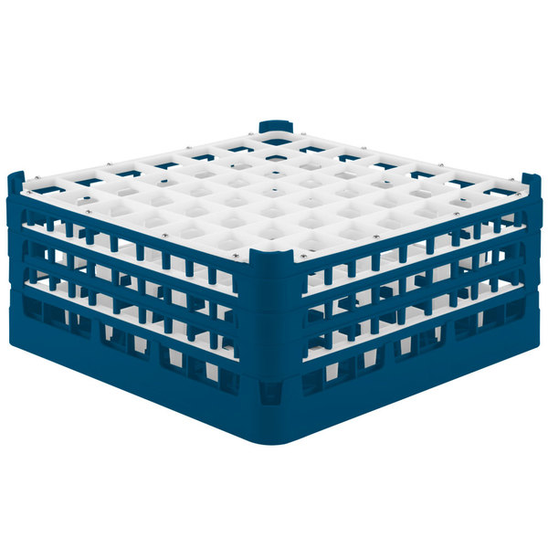 """Vollrath 52724 Signature Full-Size Royal Blue 49-Compartment 7 1/8"""" X-Tall Glass Rack"""