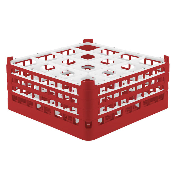 "Vollrath 52720 Signature Full-Size Red 16-Compartment 7 1/8"" X-Tall Glass Rack Main Image 1"