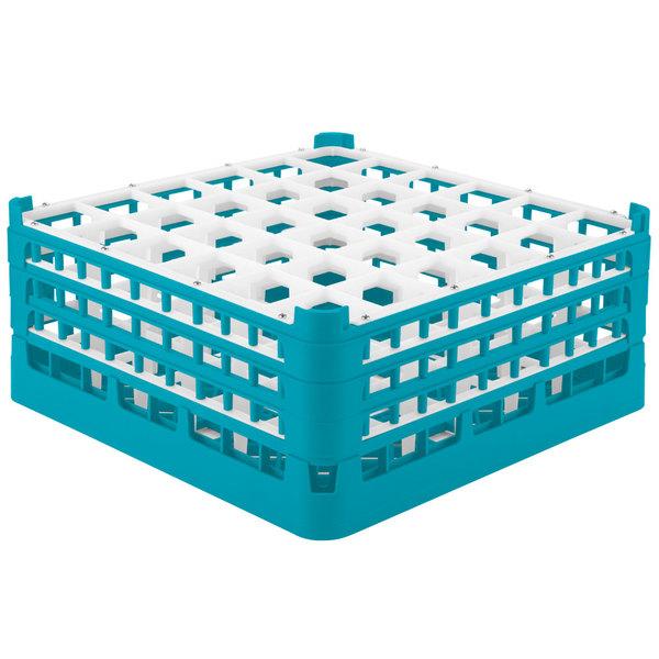 "Vollrath 52716 Signature Full-Size Light Blue 36-Compartment 7 1/8"" X-Tall Glass Rack"