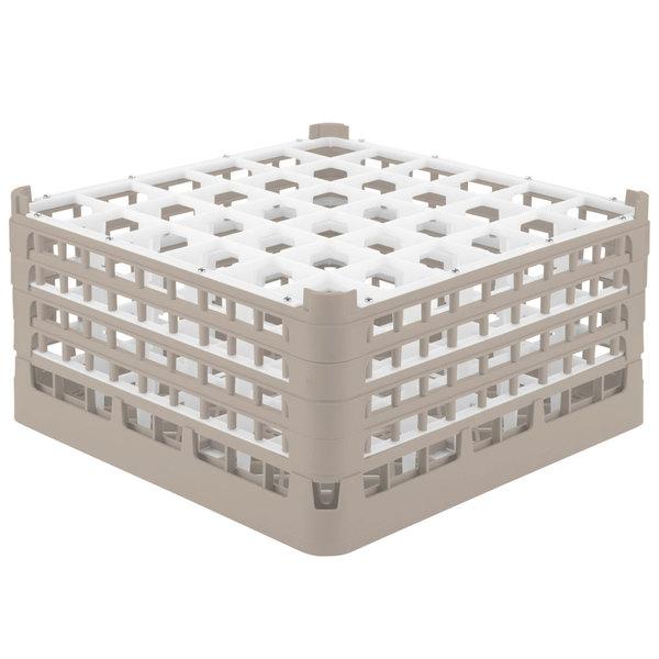 "Vollrath 52717 Signature Full-Size Beige 36-Compartment 8 1/2"" XX-Tall Glass Rack"