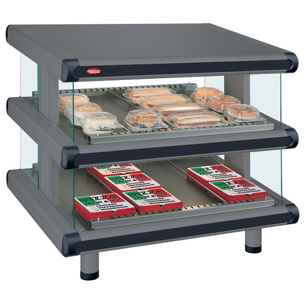 """Hatco GR2SDS-42D Gray Granite Glo-Ray Designer 42"""" Slanted Double Shelf Merchandiser - 120/240V"""
