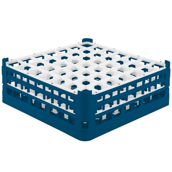 "Vollrath 52723 Signature Full-Size Royal Blue 49-Compartment 5 11/16"" Tall Glass Rack Main Image 1"