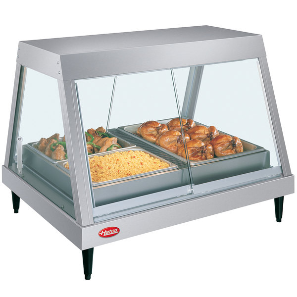 """Hatco GRHDH-3P Stainless Steel Glo-Ray 46 3/8"""" Full Service Single Shelf Merchandiser with Humidity Chamber"""
