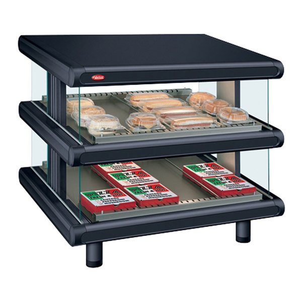 "Hatco GR2SDS-60D Black Glo-Ray Designer 60"" Slanted Double Shelf Merchandiser - 120/208V"