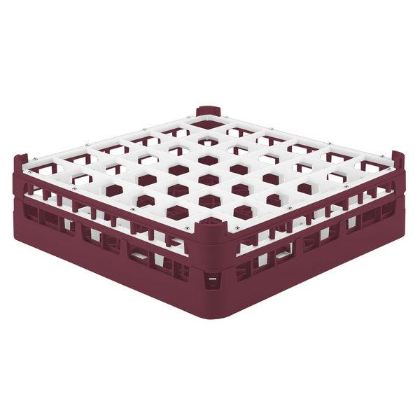 """Vollrath 52714 Signature Full-Size Burgundy 36-Compartment 4 5/16"""" Medium Glass Rack"""