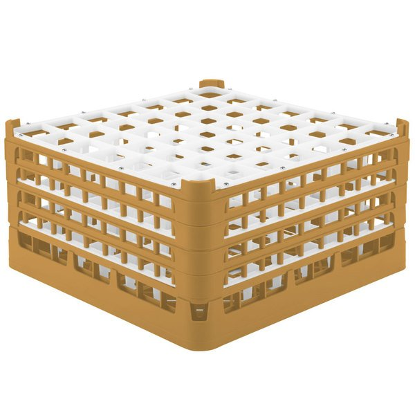 "Vollrath 52725 Signature Full-Size Gold 49-Compartment 8 1/2"" XX-Tall Glass Rack Main Image 1"
