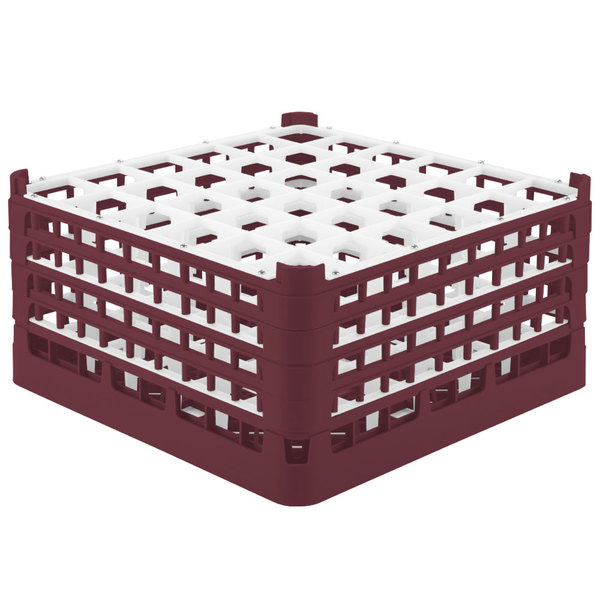 """Vollrath 52717 Signature Full-Size Burgundy 36-Compartment 8 1/2"""" XX-Tall Glass Rack Main Image 1"""