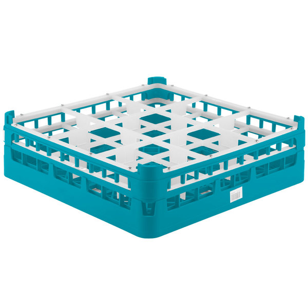 """Vollrath 52727 Signature Full-Size Light Blue 9-Compartment 4 5/16"""" Medium Glass Rack"""