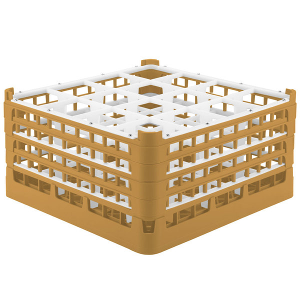 """Vollrath 52721 Signature Full-Size Gold 16-Compartment 8 1/2"""" XX-Tall Glass Rack Main Image 1"""