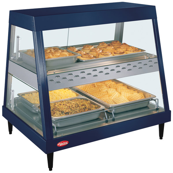 """Hatco GRHDH-2PD Navy Blue Stainless Steel Glo-Ray 33 3/8"""" Full Service Dual Shelf Merchandiser with Humidity Chamber"""