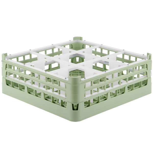 """Vollrath 52728 Signature Full-Size Light Green 9-Compartment 5 11/16"""" Tall Glass Rack Main Image 1"""