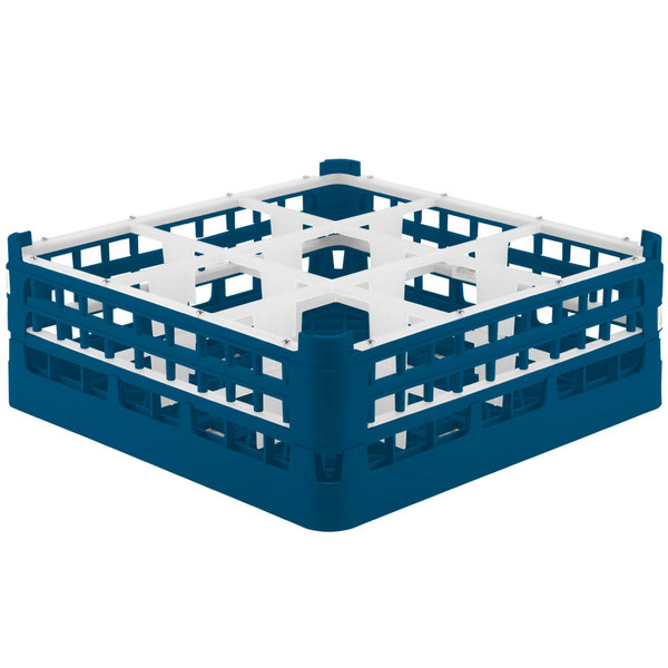 """Vollrath 52728 Signature Full-Size Royal Blue 9-Compartment 5 11/16"""" Tall Glass Rack"""