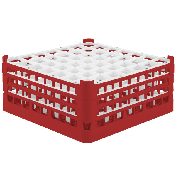 "Vollrath 52724 Signature Full-Size Red 49-Compartment 7 1/8"" X-Tall Glass Rack Main Image 1"