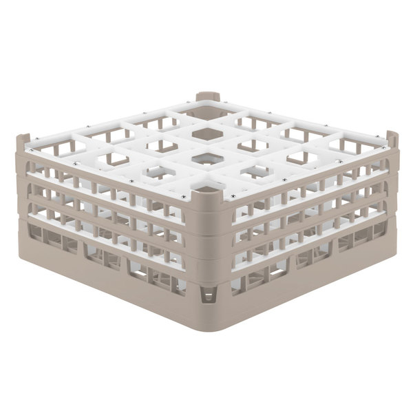 """Vollrath 52720 Signature Full-Size Beige 16-Compartment 7 1/8"""" X-Tall Glass Rack"""