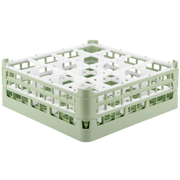 """Vollrath 52719 Signature Full-Size Light Green 16-Compartment 5 11/16"""" Tall Glass Rack"""
