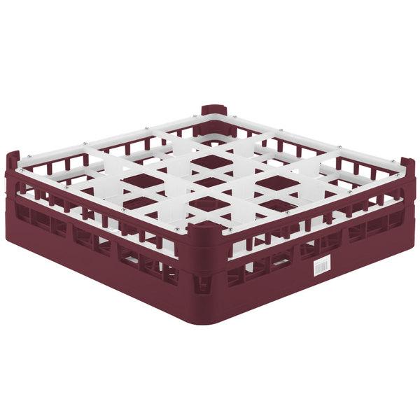 """Vollrath 52727 Signature Full-Size Burgundy 9-Compartment 4 5/16"""" Medium Glass Rack"""