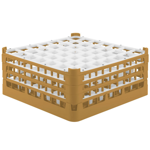 "Vollrath 52724 Signature Full-Size Gold 49-Compartment 7 1/8"" X-Tall Glass Rack"