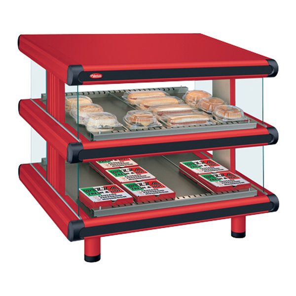 "Hatco GR2SDS-60D Warm Red Glo-Ray Designer 60"" Slanted Double Shelf Merchandiser - 120/240V"