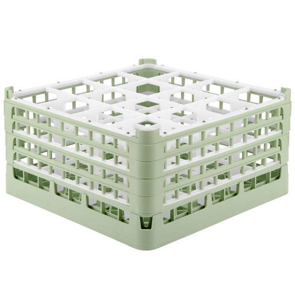 "Vollrath 52721 Signature Full-Size Light Green 16-Compartment 8 1/2"" XX-Tall Glass Rack"