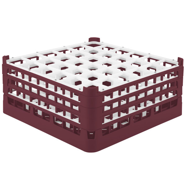 """Vollrath 52716 Signature Full-Size Burgundy 36-Compartment 7 1/8"""" X-Tall Glass Rack"""
