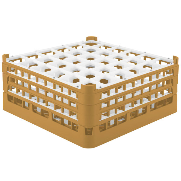 """Vollrath 52716 Signature Full-Size Gold 36-Compartment 7 1/8"""" X-Tall Glass Rack"""