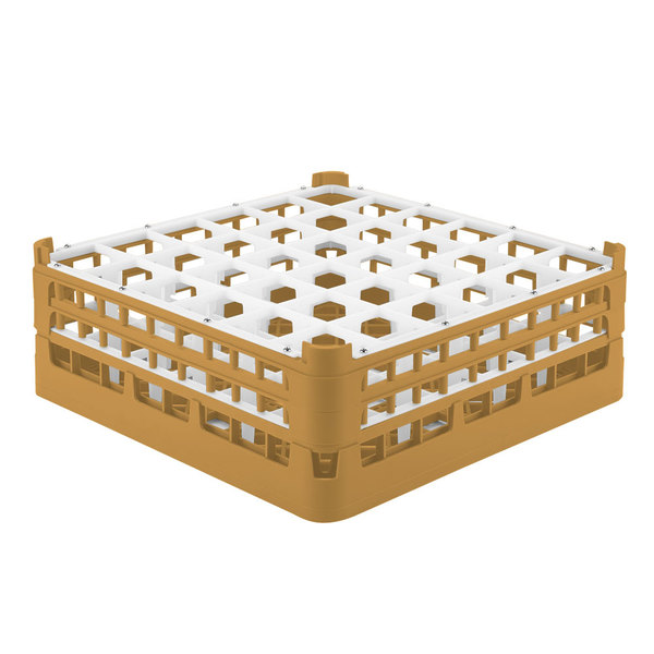 """Vollrath 52715 Signature Full-Size Gold 36-Compartment 5 11/16"""" Tall Glass Rack"""