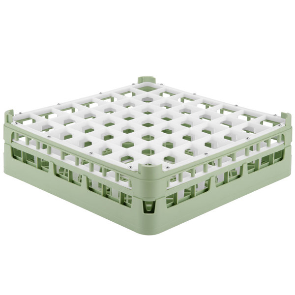"Vollrath 52722 Signature Full-Size Light Green 49-Compartment 4 5/16"" Medium Glass Rack Main Image 1"