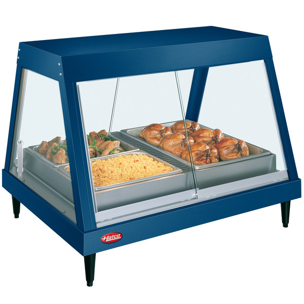 """Hatco GRHDH-2P Navy Blue Stainless Steel Glo-Ray 33 3/8"""" Full Service Single Shelf Merchandiser with Humidity Chamber"""