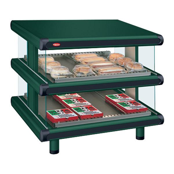 """Hatco GR2SDS-48D Hunter Green Glo-Ray Designer 48"""" Slanted Double Shelf Merchandiser - 120/208V"""