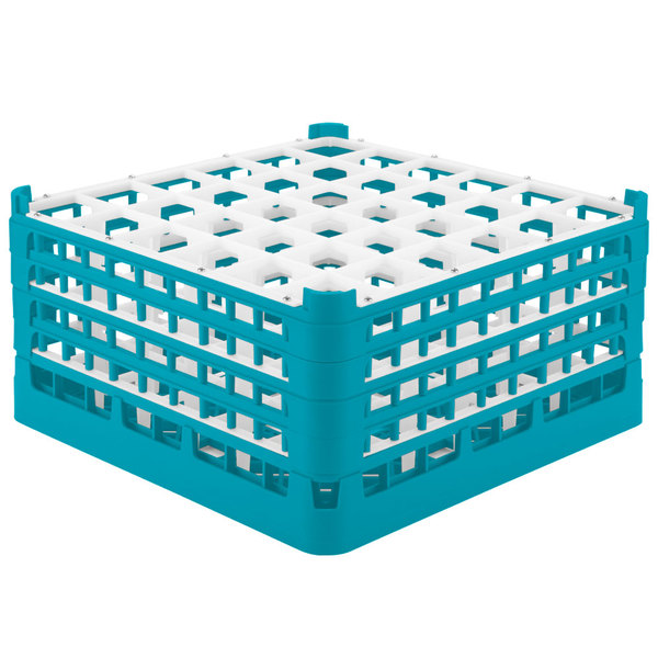 "Vollrath 52717 Signature Full-Size Light Blue 36-Compartment 8 1/2"" XX-Tall Glass Rack Main Image 1"