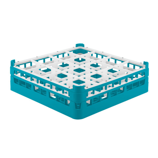 "Vollrath 52718 Signature Full-Size Light Blue 16-Compartment 4 5/16"" Medium Glass Rack Main Image 1"