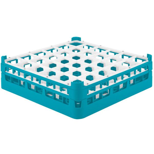 """Vollrath 52714 Signature Full-Size Light Blue 36-Compartment 4 5/16"""" Medium Glass Rack"""