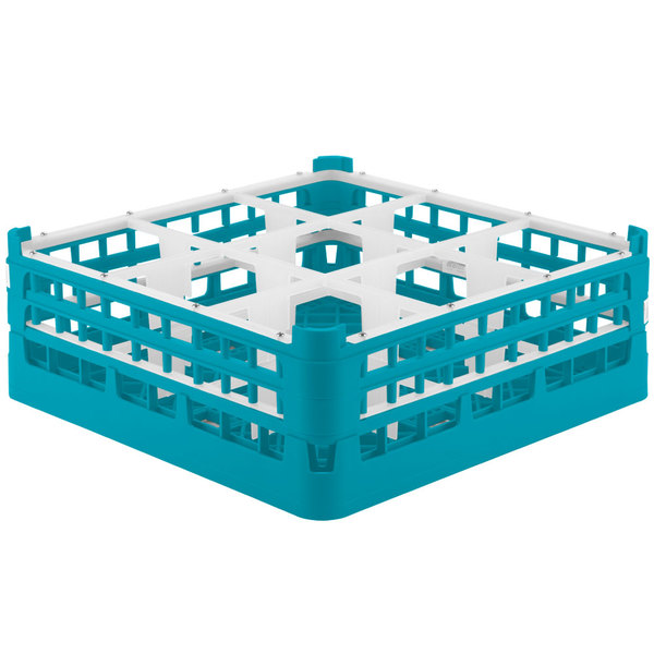 """Vollrath 52728 Signature Full-Size Light Blue 9-Compartment 5 11/16"""" Tall Glass Rack Main Image 1"""