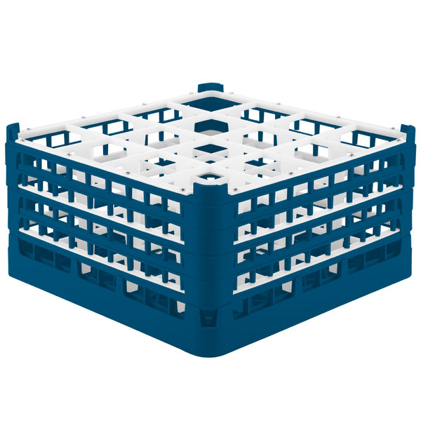 "Vollrath 52721 Signature Full-Size Royal Blue 16-Compartment 8 1/2"" XX-Tall Glass Rack"