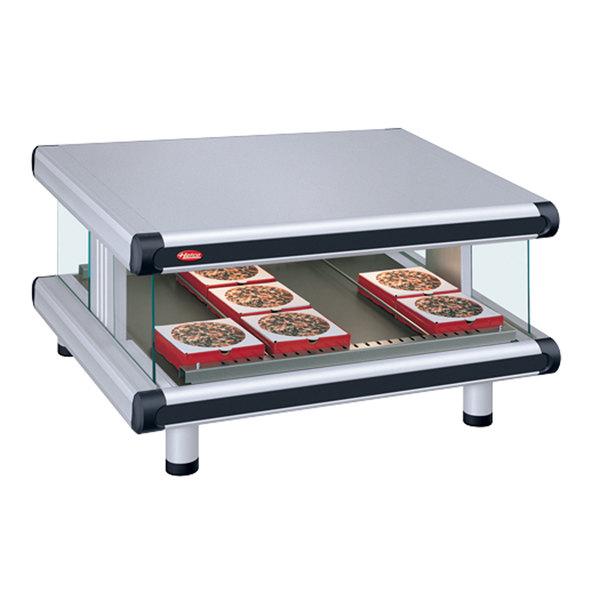 """Hatco GR2SDS-54 White Granite Glo-Ray Designer 54"""" Slanted Single Shelf Merchandiser - 120V Main Image 1"""