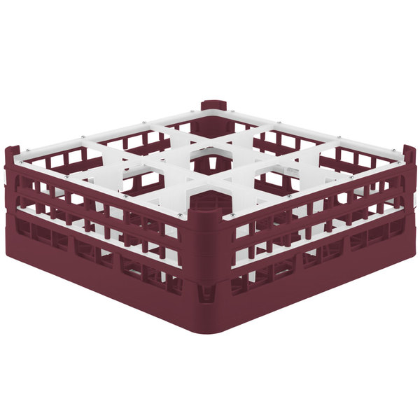 """Vollrath 52728 Signature Full-Size Burgundy 9-Compartment 5 11/16"""" Tall Glass Rack"""