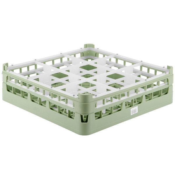 "Vollrath 52727 Signature Full-Size Light Green 9-Compartment 4 5/16"" Medium Glass Rack Main Image 1"