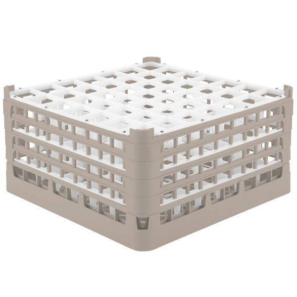 "Vollrath 52725 Signature Full-Size Beige 49-Compartment 8 1/2"" XX-Tall Glass Rack"